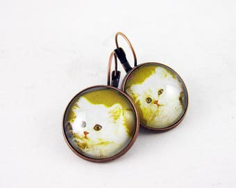 Adorable Fluffy White Kitten Earrings, 1976 Equatorial Guinea Postage Stamp, Cat Jewelry, Nickel Free Copper, Mustard Yellow, Mismatched