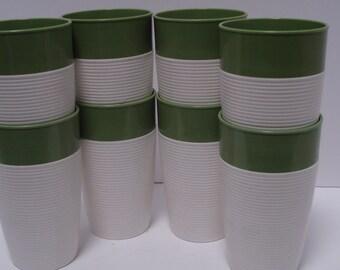 Set of 8 Iced Tea Tumblers, Raffiaware by Thermo-Temp, Avocado Green, Mod, Retro, 60s, 70s