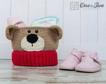 Teddy Bear Crochet Basket - PDF Crochet Pattern - Instant Download - Container Home Decor Basket Box animal