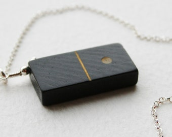 Vintage Wooden Domino One Spot Charm Necklace Sterling Silver