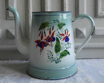 French vintage jug, flower vase enamel coffee pot, jug green and white floral cafetiere 1930's fuschias enamelware antique country kitchen