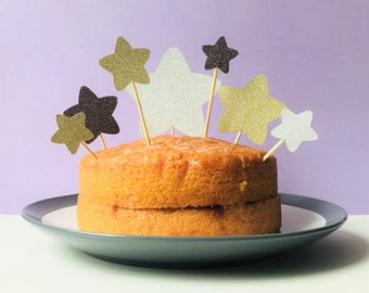 Gold and silver star cake topper set, star topper for birthday cake, perfect for a 1st birthday party, baby shower or for a star party theme