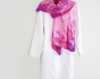 Pretty Pink Silk Scarf,  Hand-dyed,Large Square 44 In. Perfect For Spring and Beyond