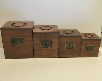 Vintage Wood Canisters, Canister, Eagle, Wood, Storage, Box, Decor,