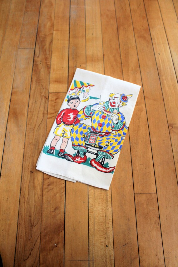 Vintage Kitchen Towel Dish Cloth Clowns 1950s