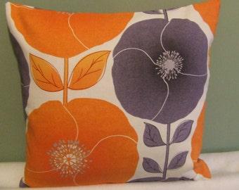"Modern, retro orange, grey, white flowered 16"" x 16"" cushion cover, scatter cushion, pillow case"