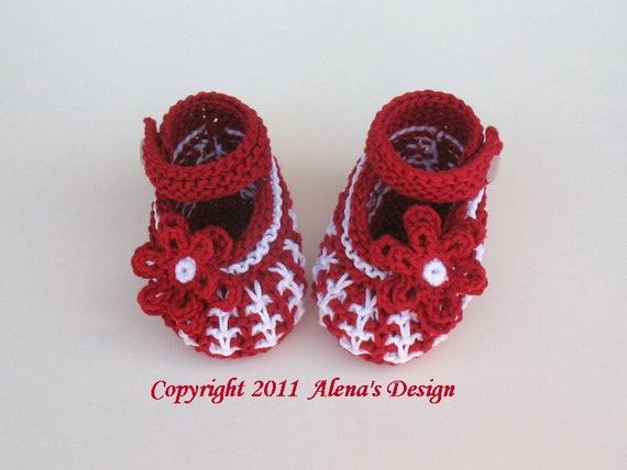 Knitting Booties Pattern 032 for Knit Baby Shoes - Booties Knitting Pattern - Newborn Booties Baby Boys Baby Girls Red Blue Mary Jane Shoes