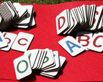 Mini Sandpaper Letters Set - Uppercase, Lowercase and Numbers on Fiberboard wood
