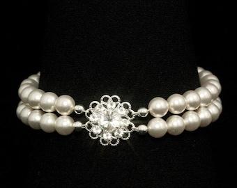 Bridal Bracelet, Pearl Bracelet, Vintage Style, Swarovski Crystal, Rhinestones, Double Strand Bracelet, Wedding Jewelry -- BRIGITTE