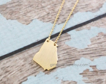 Tiny Gold Georgia State Charm Necklace with Skinny Chain,GAState Charm Necklace , GA necklace, Georgia Long Necklace-5009