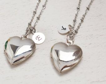 silver heart locket,personalized locket,heart locket,best friend gift,bridesmaid gift,tiny locket,keepsake,friend locket,initial locket gift