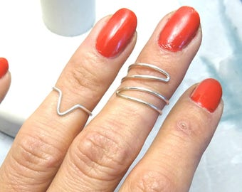 Silver 925/1000 woman zigzag 925/1000 silver knuckle ring adjustable