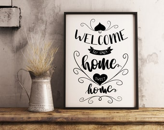 Welcome to our home sweet home | paper print poster, minimalist wall art decor, warm home, modern wall art, house warming, Welcome home
