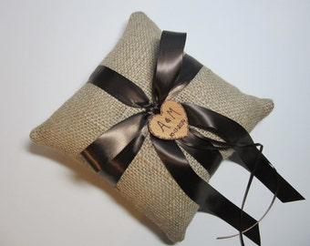 Rustic Burlap Personalized Ring Bearer Pillow Shown With Brown Ribbon