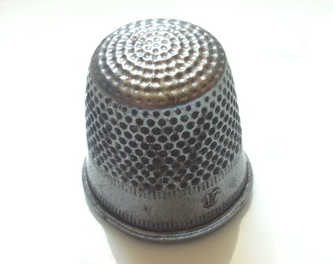 Vintage old metal thimble size 17 mm finger hats