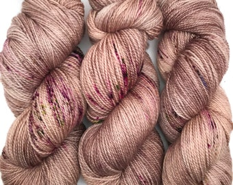 "Hand Dyed Yarn ""Plum Bomb"" Brown Beige Taupe Purple Yellow Green Speckled Merino Fingering Superwash 408yds 115g"