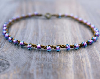 Purple Beaded Anklet, Boho Ankle Bracelet, Purple Anklet, Purple Ankle Bracelet, Beaded Ankle Bracelet, Anklet Bracelet, Foot Jewelry