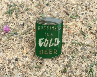 Vintage Lapel Pin or Hat Pin/ Happiness is a Cold Beer