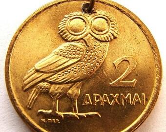 Vintage Over 40 Years Old 1973 GREECE 2 Drachma OWL Wisdom Goddess Athena Coin CHARM