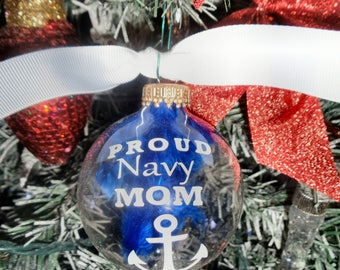 Proud Navy Mom Glass Ornament