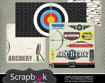 Archery Digital Scrapbooking. Instant Download.