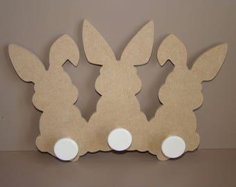 Coat rack wooden Bunny medium MDF customize 28 cm x 20 cm