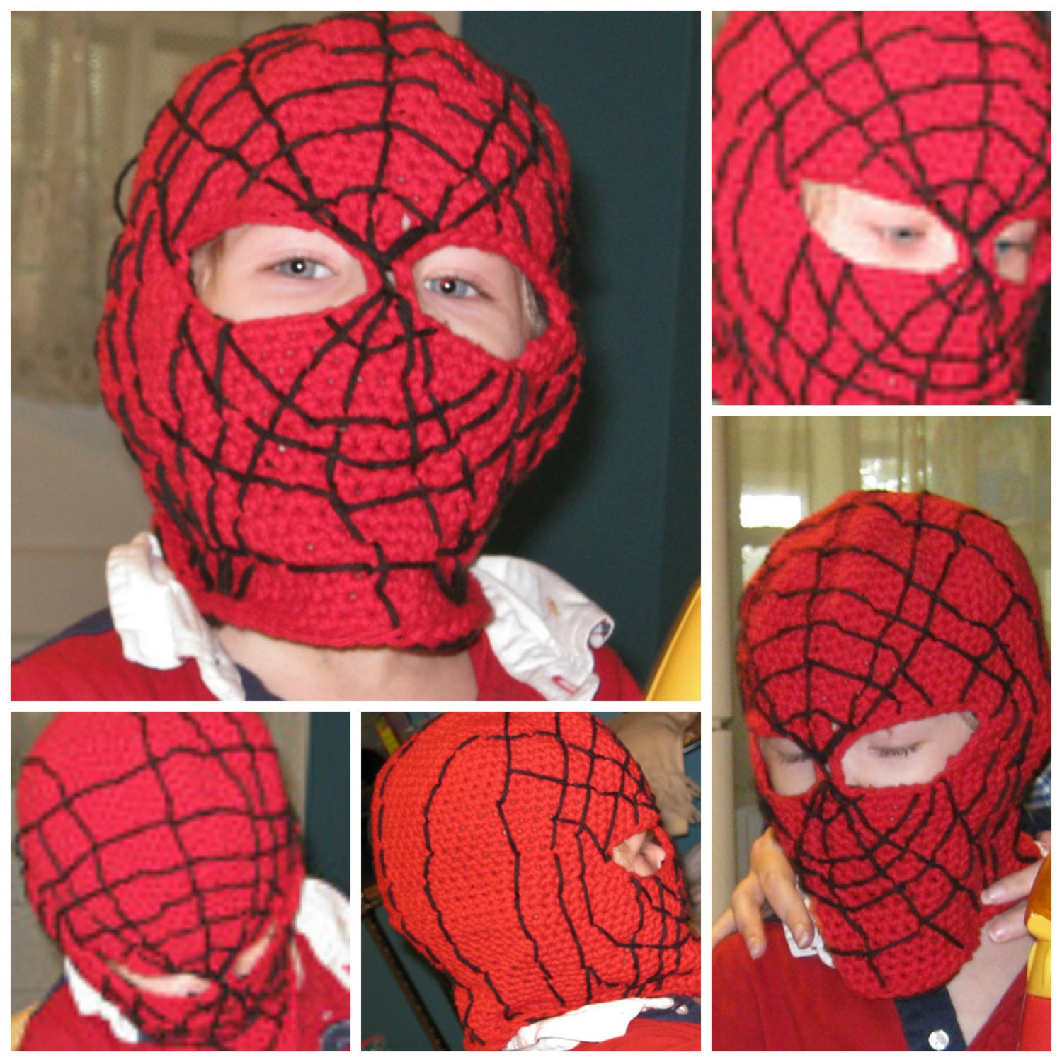 Crochet Pattern Spider-man mask balaclava hood face mask