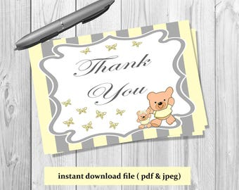 Rustic santa letter kit with envelope letter from santa yellow and grey teddy bear thank you card printable instant download printable thank you card digital file butterfly thank you card spiritdancerdesigns Choice Image