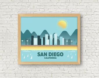 San Diego Art Print - City Illustration - Wall Art - Travel Art