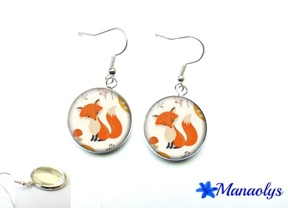 Foxes, 2529 glass cabochons earrings