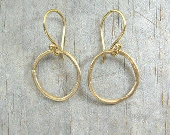Gold Hoops - Round Earrings - Little Earrings - Bronze Hoop Earrings - Women's Jewelry - Boho Jewelry - The Golden Circle Earrings (EB-CLL)