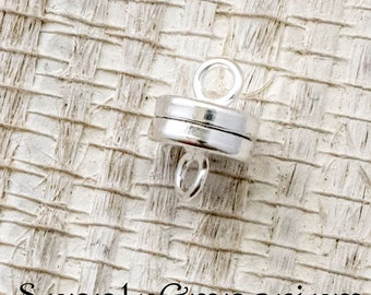 6 Silver Magnetic Barrel Clasps - Silver Plated Barrel Clasp -  8x4mm Magnetic Clasp - 4710 - Super Strong Magnet Clasp