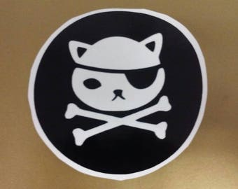 Pirate Decal/ Pirate Cat Decal/Pirate Kitty Boat Decal/Pirate Decal/ Pirate Kitty Decal /Yeti Cup Pirate Decal/Boat Decal