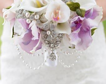 Custom Lavender Orchids, Calla, Silk Flower Brooch Bouquet, Real Touch, Artificial Flower Bouquet, Bridal Bouquet, Faux Bouquet, Rose, Pearl