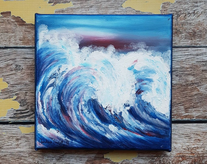 "Ocean Canvas Art   Wave Painting   Ocean Art   Beach Decor   6x6   ""Breaking""   Saltons Cove Studio"
