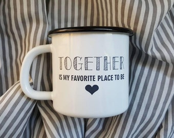 Couple Love Gift / Enamel Mug / Personalized Enamel Coffee MUG / Enamelware / Coffe Gift / Inspirational Quote / Gift for Her / Gift for Him