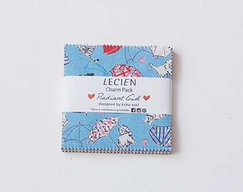 """Radiant Girl 5"""" x 5"""" Squares Charm Pack Set Fabric bundle - by Koko Seki for Lecien Japan, 42 pieces"""