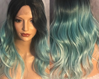 Human Blended, Stunning Turquoise, Wavy Lace Wig