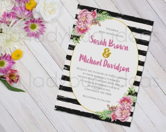 Floral and Stripes Watercolor Printable Bridal Shower Invitation, Black and White Stripes Bridal Shower Invitation, Wedding Invitation
