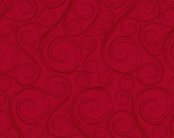 Red Swirl Fabric, Henry Glass Holiday Wishes 6930 88, Red Christmas Quilt Fabric by Jan Shade Beach, Cotton