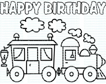 Choo Choo Train Birthday Party Printables Train Birthday Party Favor Train Party Supplies Coloring Page Coloring Sheet Instant Download PDF