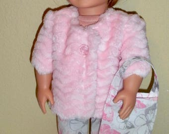 Pink Minky Jacket Outfit---doll jacket---doll clothes---Girl doll clothes