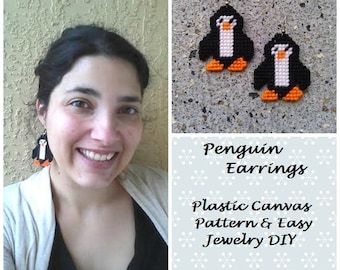 Plastic Canvas Pattern & Jewelry Tutorial - Plastic Canvas Penguin Earrings - Easy Needlepoint - Easy Jewelry DIY - Easy Sewing - PDF