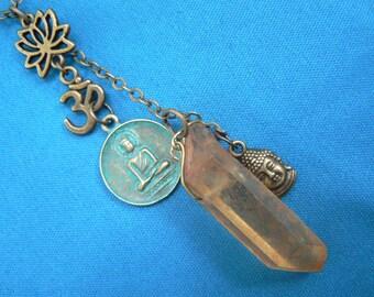 zen necklace,spiritual necklace, buddha necklace, yoga necklace, festival,lemon quartz, smoky quartz, boho