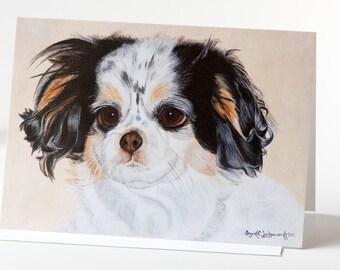 "Note Card 5 x 7"" of Original Painting ""Napoleon"" by Award-Winning Artist Ingrid Lockowandt Dog Portrait Blank Greeting Card"