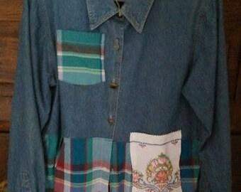 denim/plaid shirt