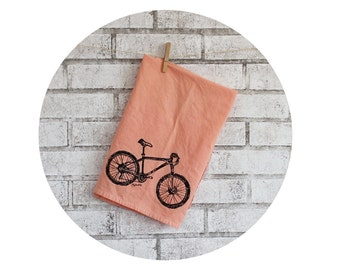 Gift For Cyclist Mountain Bike Tea Towel Shown in Peach, Home Decor, Screenprinted Flour Sack Rag, Dish Towel, Housewarming Gift