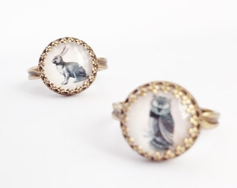 Bunny Rabbit Ring // Antique Brass Adjustable Ring // NOW IN SILVER