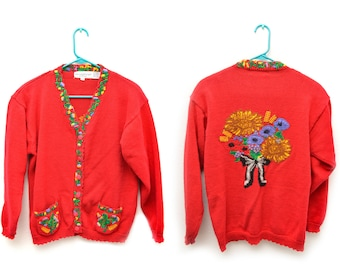 80s Red Embroidered Floral Sunflower Sweater Cardigan Women's Large