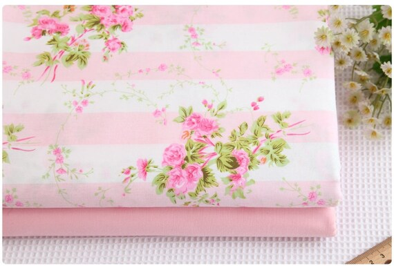 100% Cotton Vintage Floral Pink Roses Pink White Stripes Twill